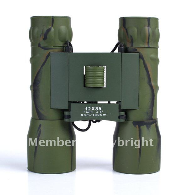 Free Shipping! Green Camo 12X35mm Oblique Twill Pattern Binoculars Telescope For Travel /Hunting Brand New! High Power Big Lens(China (Mainland))