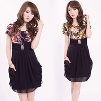 Free shipping Hot-selling 2012 summer chiffon one-piece dress summer Women leopard print skirt