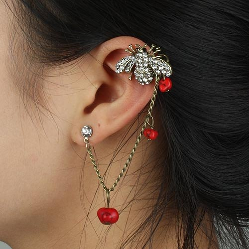 New Arrival Punk Hanging Type Ear Cuff Earrings women's Fashion ear cuff Earrings 100% Excellent Quality SP-EH-70712(China (Mainland))