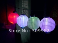 "Free Shipping +12pcs/lot ,10"" Solar Powered Chinese Lantern Patio Garden/ Party /Festival/ Decoration /Yard LED light Wholesale"