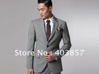Mens Suit  Top Quality Business Suit  Tailor Suits Two Button Jacket Flap Front Pants Custom Working Buttonholes Gray MS0303