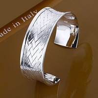 B031 Free shipping 1 piece silver 925 weaves bangle cuff jewelry