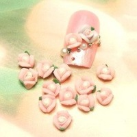 Free Shipping 3D 200pcs/bag Handmade Ceramic Light Pink 3-petal Flower Nail Art Decoration Nail art Flower Deco