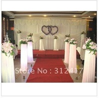 Free shipping wholesale and retail  pure white wedding backdrop with swag , wedding background decorations,  wedding accessory