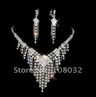 MIN.ORDER $15,shining jewelry set for bride,rhinestone tessels under rhombus as drops