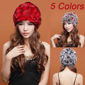 BG5452 Hot Sale 2 Colors Genuine Rabbit fur knitted hat Beanie With Flowers Winter Ladies Cute Cap OEM Wholesale/Free shipping