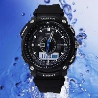 OHSEN Waterproof Alarm Analog Digital Day Date Men's Sport Quartz Wrist Watches Black AD1209-1