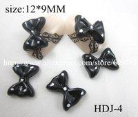 Free shipping/200pcs/bag black Bowknot Bow Tie Flatback Resin Acrylic Nail Art  Decoration