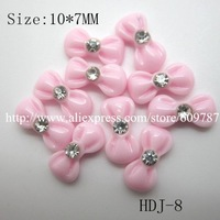 Free shipping/200pcs/bag Small Pink Resin Rhinestone  Bowknot Nail Decoration Lovely Outlooking Nail Art Decorations