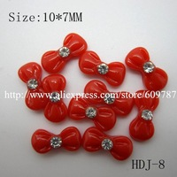 Free shipping/200pcs/bag Small Red Resin Rhinestone  Bowknot Nail Decoration Lovely Outlooking Nail Art Decorations