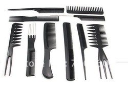 Free shipping 10 x Salon Barbers Hair Styling Hairdressing Plastic Comb Stylist Set Black Tool(China (Mainland))