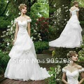 2012 Gorgeous off-shoulder V Neck ruching& Appliqued bridal gown