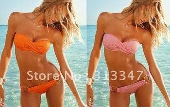 Fashion Swimwear Bikini Sexy with PAD Women Swimsuits Bikinis Beachwear Swimming Suit Colors or orange pink Free Shipping k80185