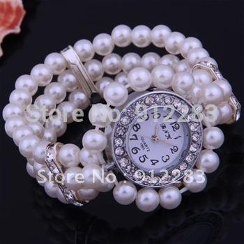 Wholesale 5pcs 6mm White Faux Pearl Glass Rhinestone Beads Elastic Bracelet  Wrist Watch