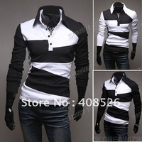 2014 fashion New Men's Casual Stylish Slim Fit Shirts T-shirts Tee Long Sleeve M, L, XL, XXL free shipping 3627