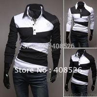 2014 fashion New Men's Casual Stylish Slim Fit Shirts T-shirts Tee Long Sleeve M, L, XL, XXL free shipping 3627
