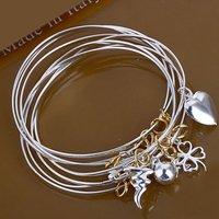 B079 factory price fashion 925 silver bangle bracelet 7 charm round bangles cuffs fine jewelry free shipping wholesale