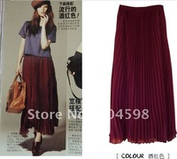 Feee shipping!2012 6 colors Womens fashion long pleated chiffon skirt,FG238