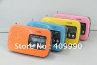 DHL,20pcs T-206 portable speaker volume small volume built-in lithium battery  for iPod,MP3,MP4,Boombox with Micro SD/TF,USB