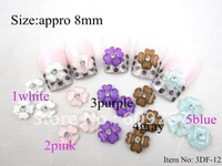 Free Shipping 3D 200pcs/bag 4-petal Crystal Acrylic Flower with Rhinestones For DIY Nail Art