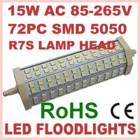 5pc/lot 15w 72PC SMD 5050 AC 85-265 CE ROHS White/Warn white 13w R7S LED Flood Light Street Lamp floodlight Free Shipping