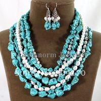 Fabulous Turquoise&Pearl Jewelry Set Fashion Multi-strand Necklace Set Costume Beads Jewelry Set TN050