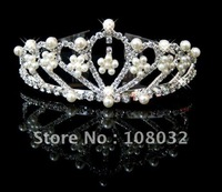 MIN.ORDER $15,brilliant crown with leaves as decorations,little pearl flowers inside