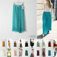 Free shipping blue/green/pink/red pleated fashion skirts womens plain maxi skirts