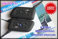 2012 New Arrival A Pair 1000m Talk Range 6 Riders Multi-function Motorcycle Helmet Intercom Headset Interphone Bluetooth(China (Mainland))