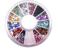 free shipping 500 PCS 3D Nail Art Tips Round Rhinestone Mix Gems UV Gel Decorations Wheel Case
