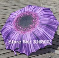 Free shipping 3 folding Purple chrysanthemum UV flower  manual  umbrella, 1pc