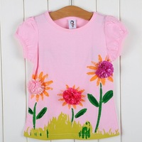 hot sale 5pcs/lot flowers children t shirts,cotton baby tops, kid tshirt, girls blouse, Free shipping