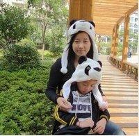 Punk Style Wholesale 8pcs/lot Panda Animal Hat Winter Warm Hat for Children and Adulit Nice Cap