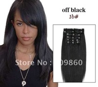 "Factory Retail differnt length 22"" 24"" 26"" 100% Indian human remy  hair clip in extension + free shipping"