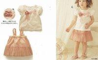 fashion baby kids sets short shirts+Suspender skirt dresses 2012 new children pajamas Sleepwear Outfits cotton free shipping