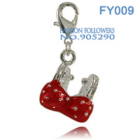 Free Shipping Fashion Necklaces & Pendants Accessories Silver Plated Red Bra Lucky Floating Charms With Lobster Clasp FY009