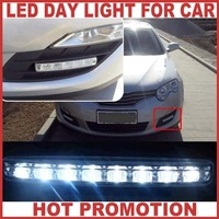 Promotion 4pc/lot High Brightness 8pc led Universal Car lighting Daytime Running LED Lamp For Car Running