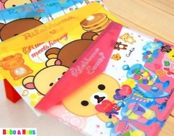 Free Shipping/New Cartoon rilakkuma designs File folder / A4 documents file bag / stationery Filing Production/Wholesale(China (Mainland))