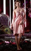 Free shipping New Sexy pink Spring autumn sleepwear women's silk leisurewear Pajamas Sets