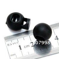 Free shipping,NEW Black Plastic Ball Cord Lock Toggles Round Cordlock