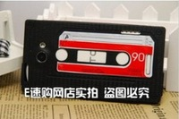 50pcs/lot Audio Tape Cassette silicon  Case Cover For HTC One X Free Shipping