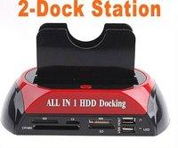 "2.5"" 3.5"" SATA/IDE 2-Dock HDD Docking Station e-SATA/Hub,Free Shipping"