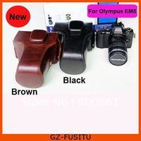 Free shipping Leather camera bag For Olympus OM-D OMD EM5 E-M5