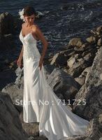 Summer Simple Sheath Spaghetti Straps Beach Beading Applique Sweetheart Dropped Waist Zipper Sweep Train Bridal Wedding Dresses