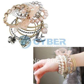 Wholesale 10Pcs Palace Style European Multilayer Bracelet Jewelry Free Shipping