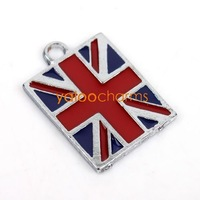 Wholesale- 25x Enamel & alloy Square British flag Charms pendants fit necklace mobile phone  21x15x1.5mm 141338-25