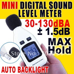High Accuracy Mini Digital 30~130dBA Sound Noise Level Meter with Auto Backlight via Light Sensor(China (Mainland))