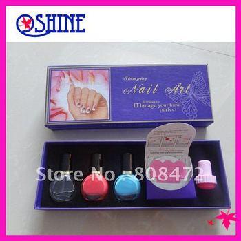 Free Shipping 1set Nail Art Stamping Kits(Stamp+Scraper+Nail Paints+Image Plates)Nail Printers Nail Printing Set