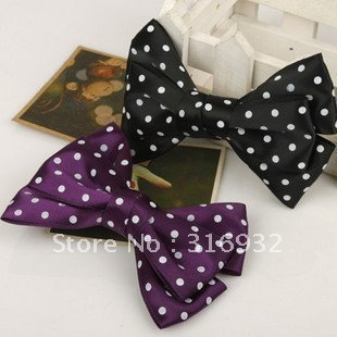 New Fashion polka ribbon bow Hairclips, 30pcs/lot