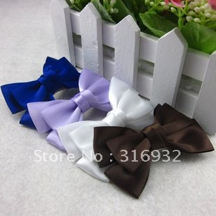 Satin fabric ribbon bowknot  hair clip, free shipping,30pcs/lot